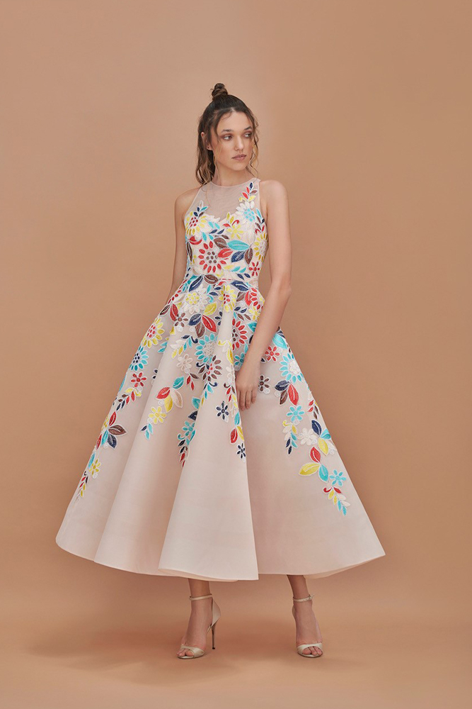 Floral embroidered volume dress for event