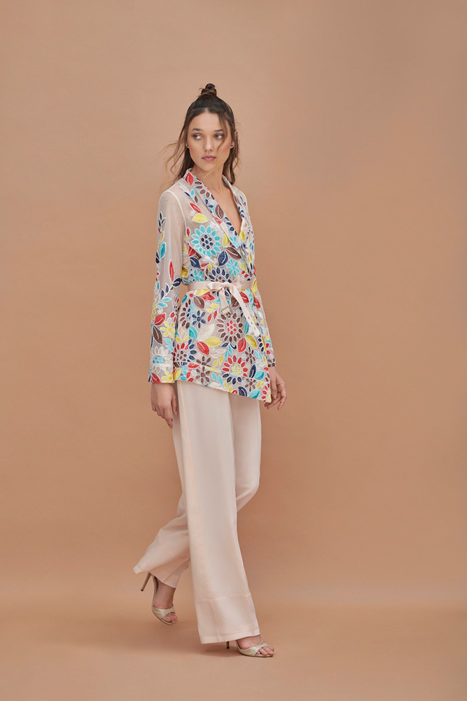 Embroidered Pyjama style Jacket with trouser
