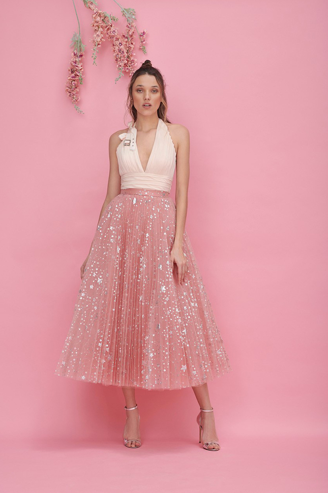 Pleated embellished pink Cocktail top and skirt