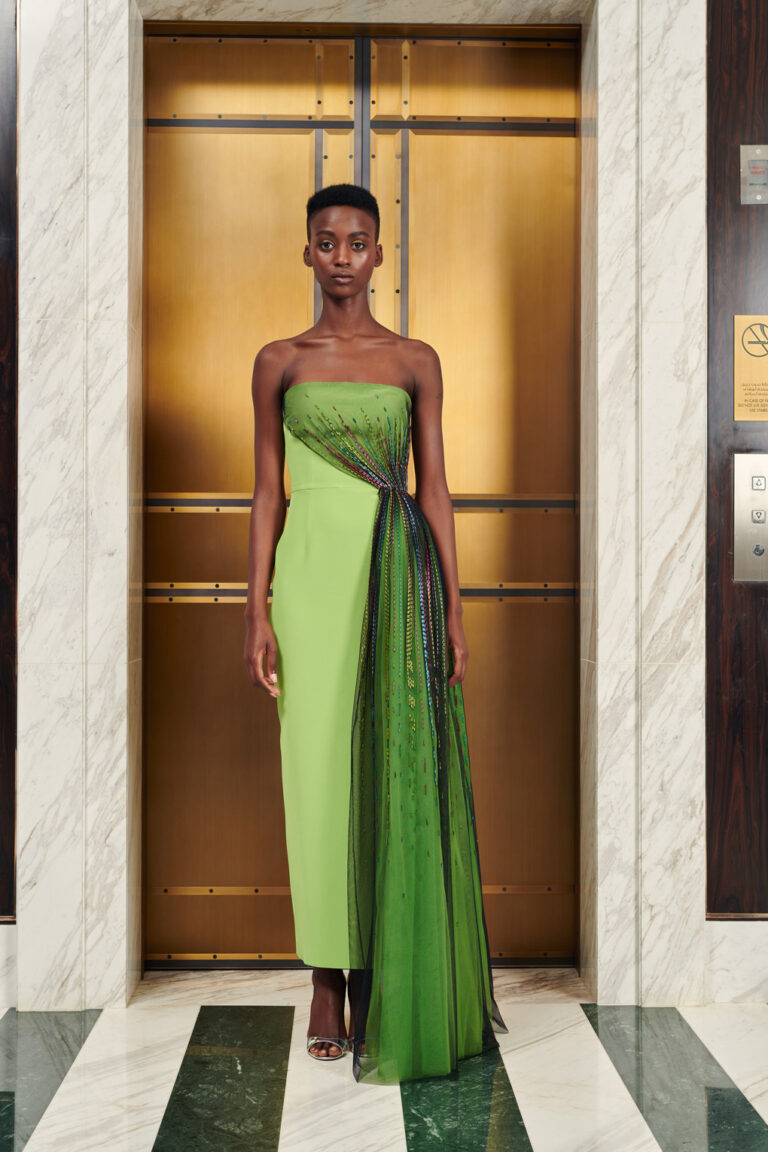 Beaded fitted evening gown