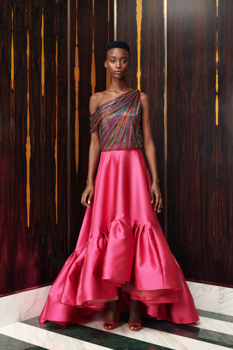 Beaded top with volume skirt for event