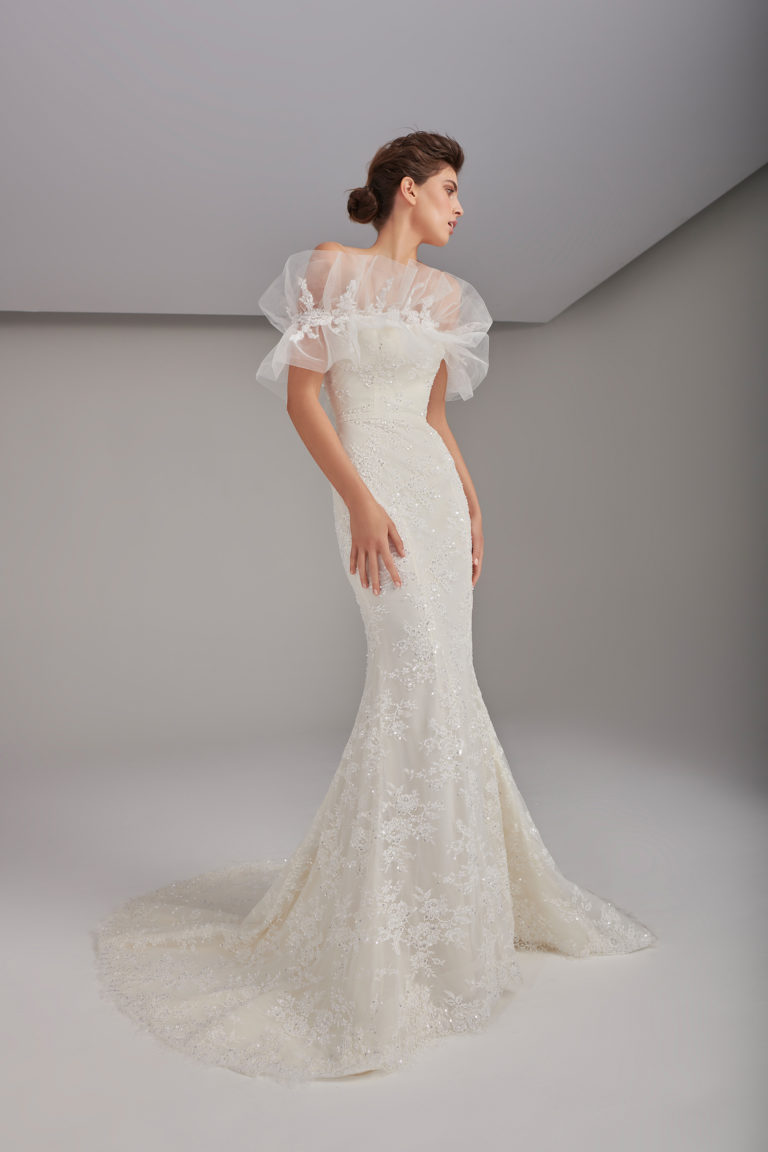 Embellished lace mermaid gown