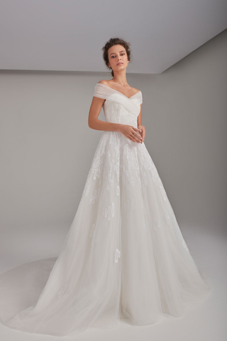 Embroidered tulle princess ball gown
