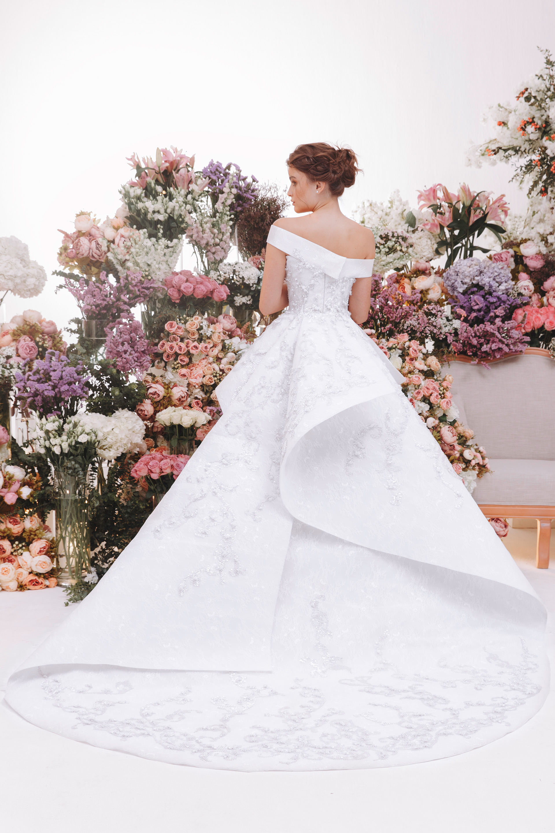 Fully beaded structured wedding dress