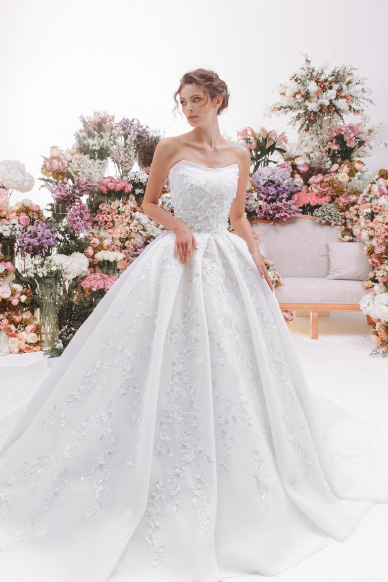 Fully beaded volume wedding gown