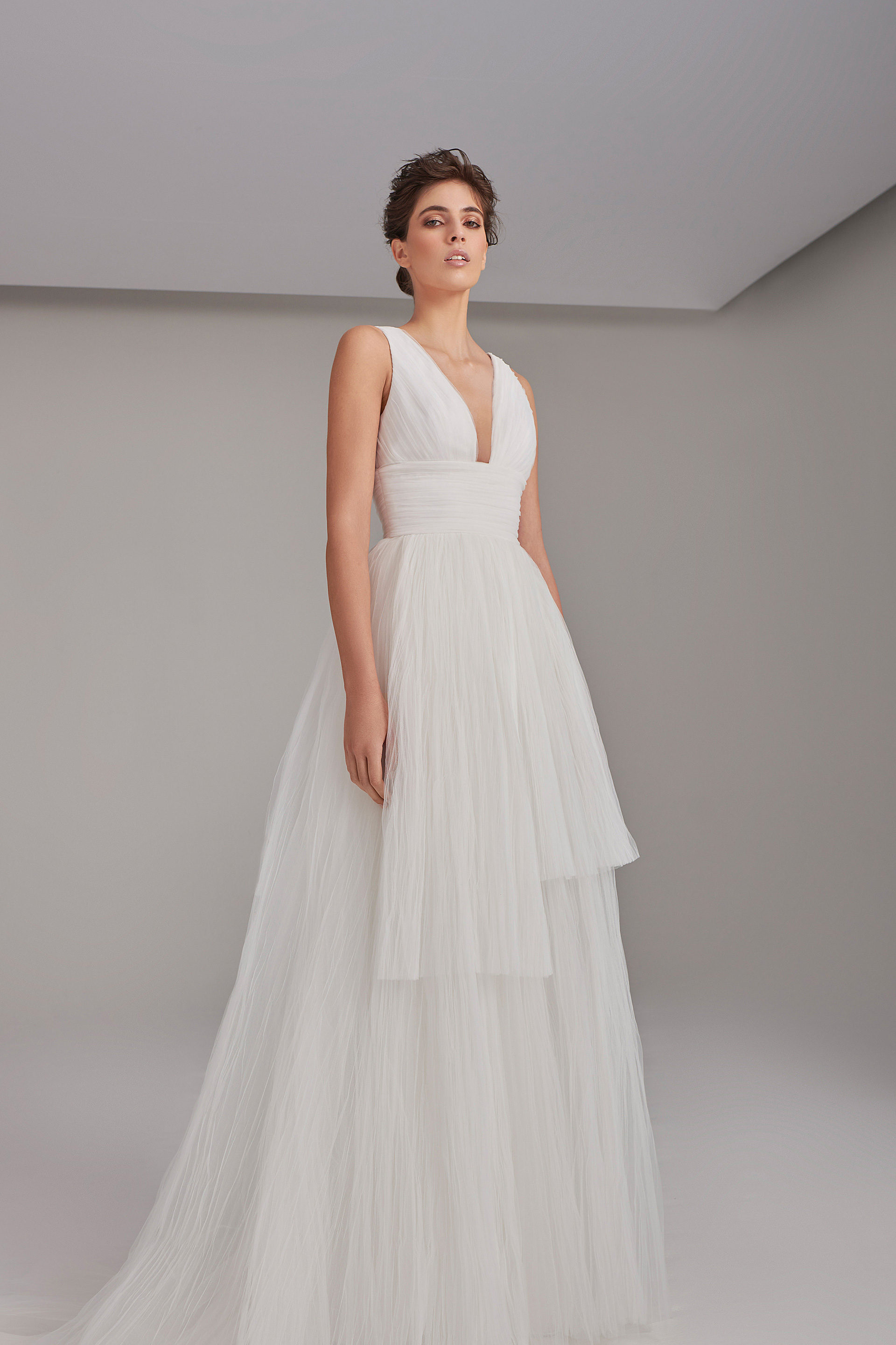 V-neck layered tulle volume gown