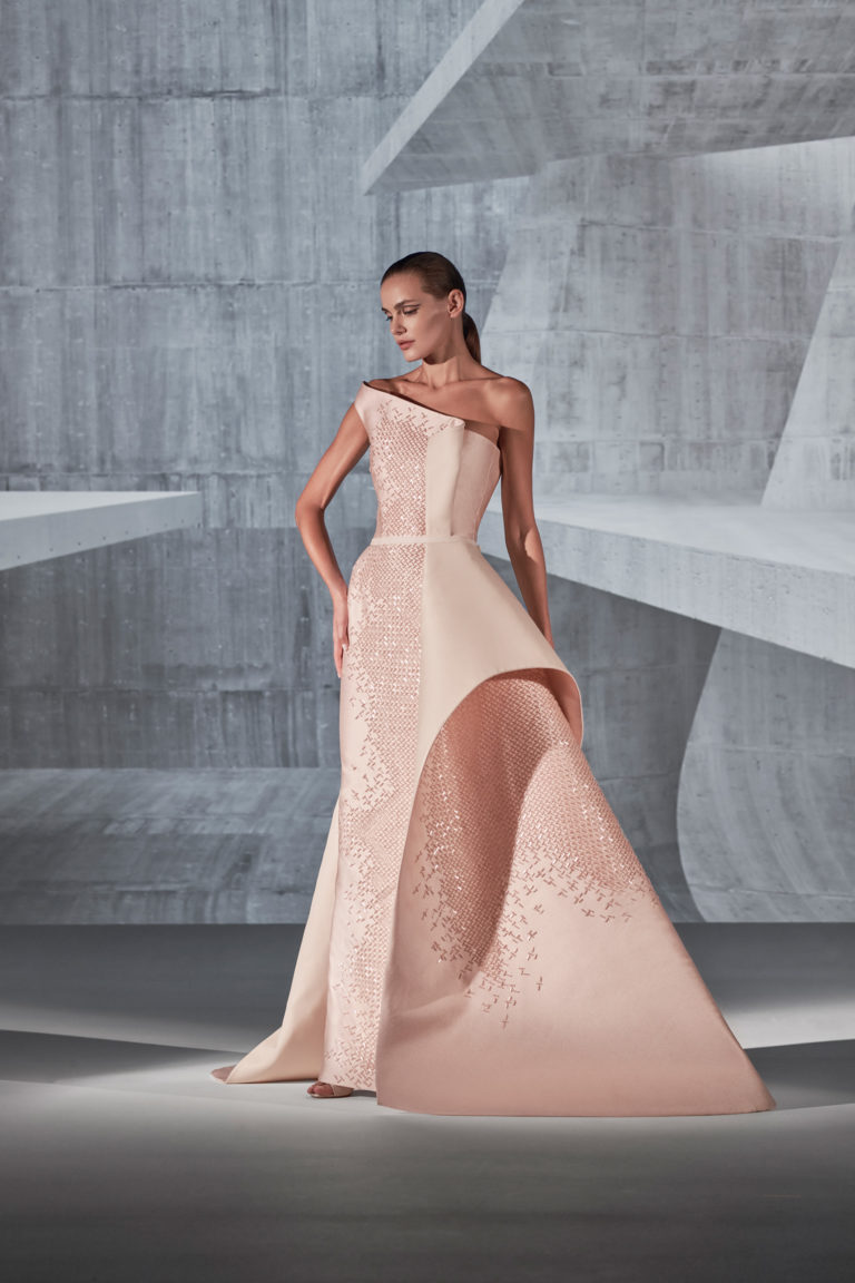 structured fully beaded dress for event
