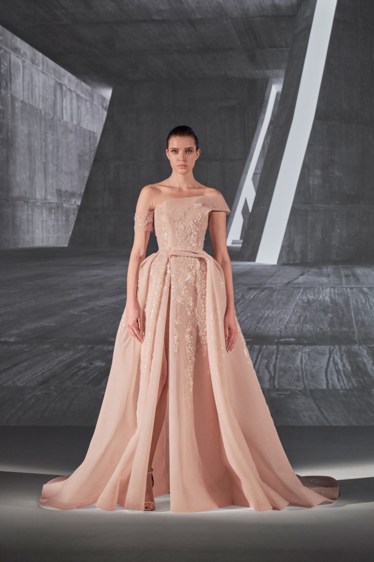 fully beaded volume gown
