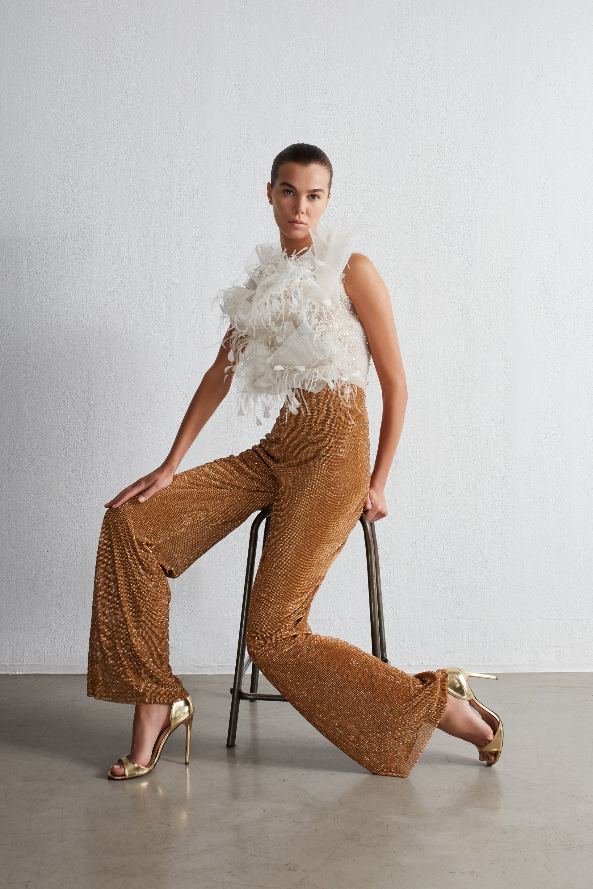 beaded feather top with mesh trouser