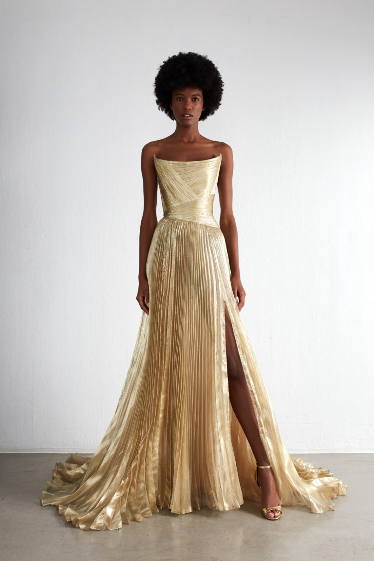 Pleated gold evening dress