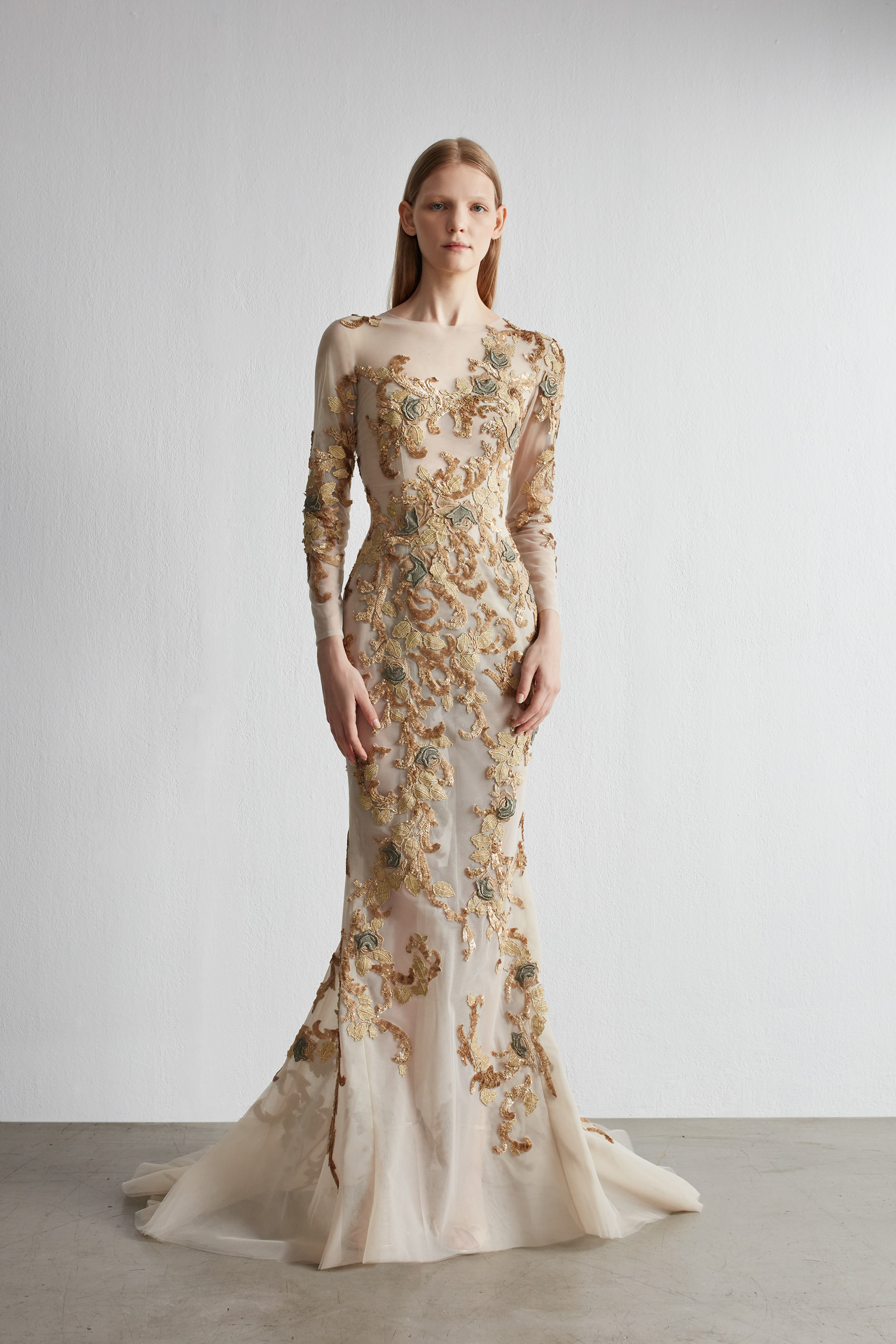 Mermaid embroidered evening dress