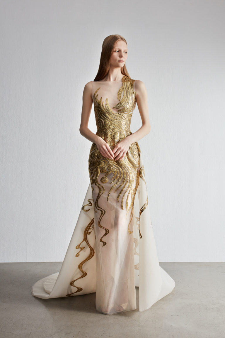 Fully embroidered fitted evening gown