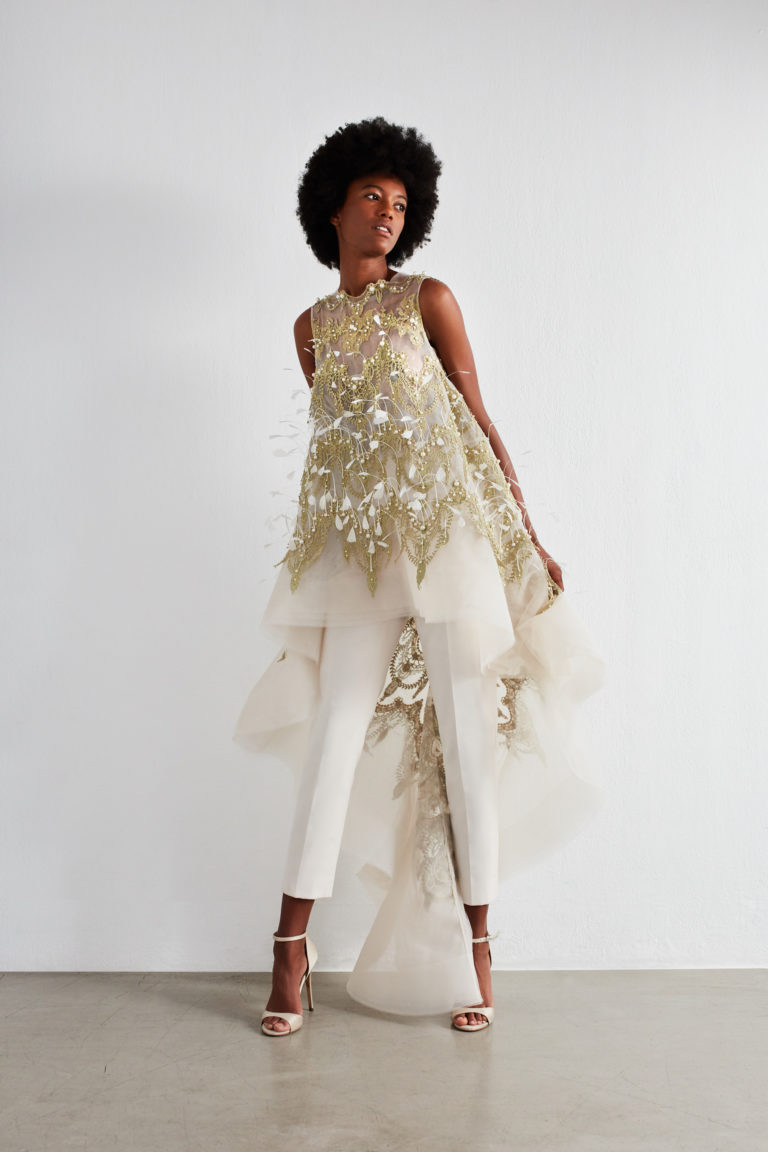 Fully beaded long top with slim trouser for event